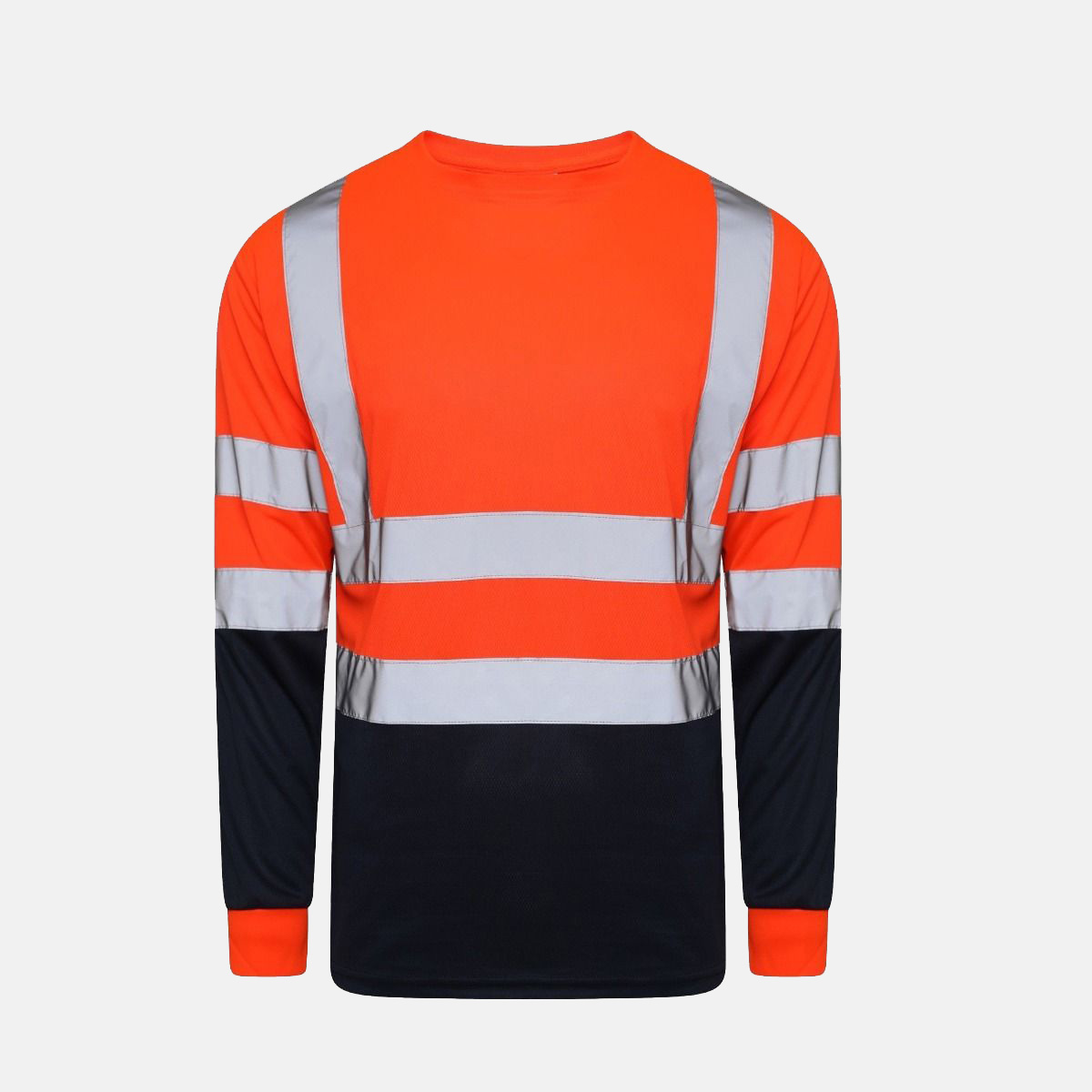 Hi Vis Breathable Long Sleeves Round Neck Two Tone T-Shirts