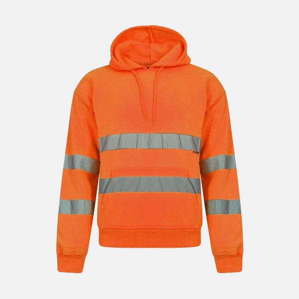 Hi Vis Pull Over Fleece Plain Hoody - Orange