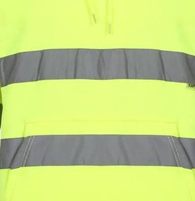 Hi Vis Pull Over Fleece Plain Hoody - Yellow