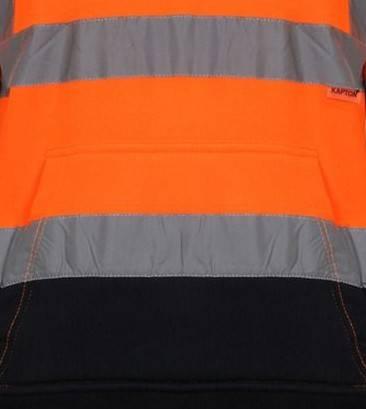 Hi Vis Pull Over Fleece Plain Two Tone Orange Hoody
