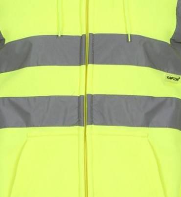 Hi Vis Fleece Full Zip Plain Hoody - Yellow