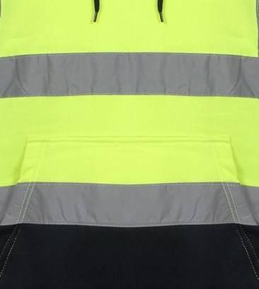 Hi Vis Pull Over Fleece Plain Two Tone Yellow Hoody