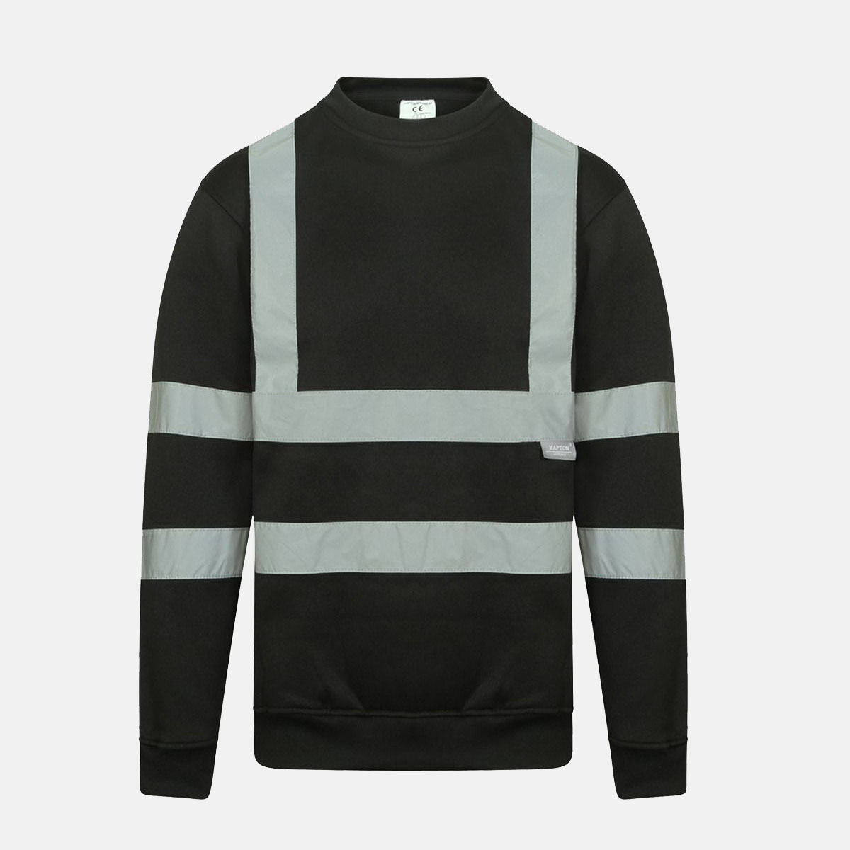 Hi Vis Crew Neck Fleece Pull Over Black Sweatshirts