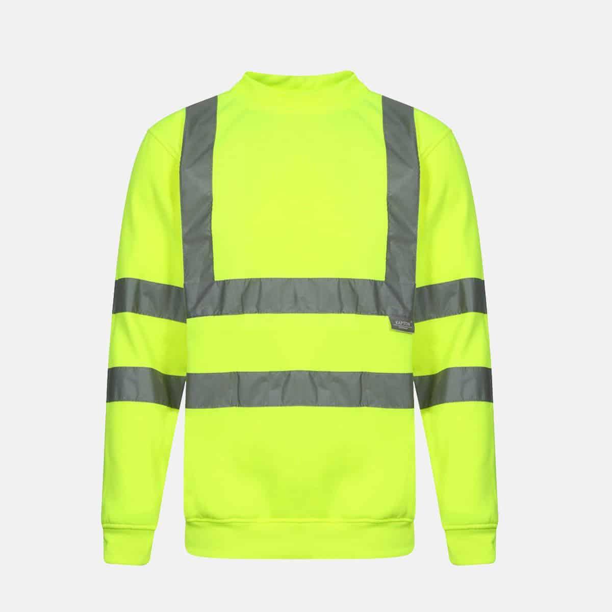 Hi Vis Crew Neck Fleece Pull Over Yellow Sweatshirts