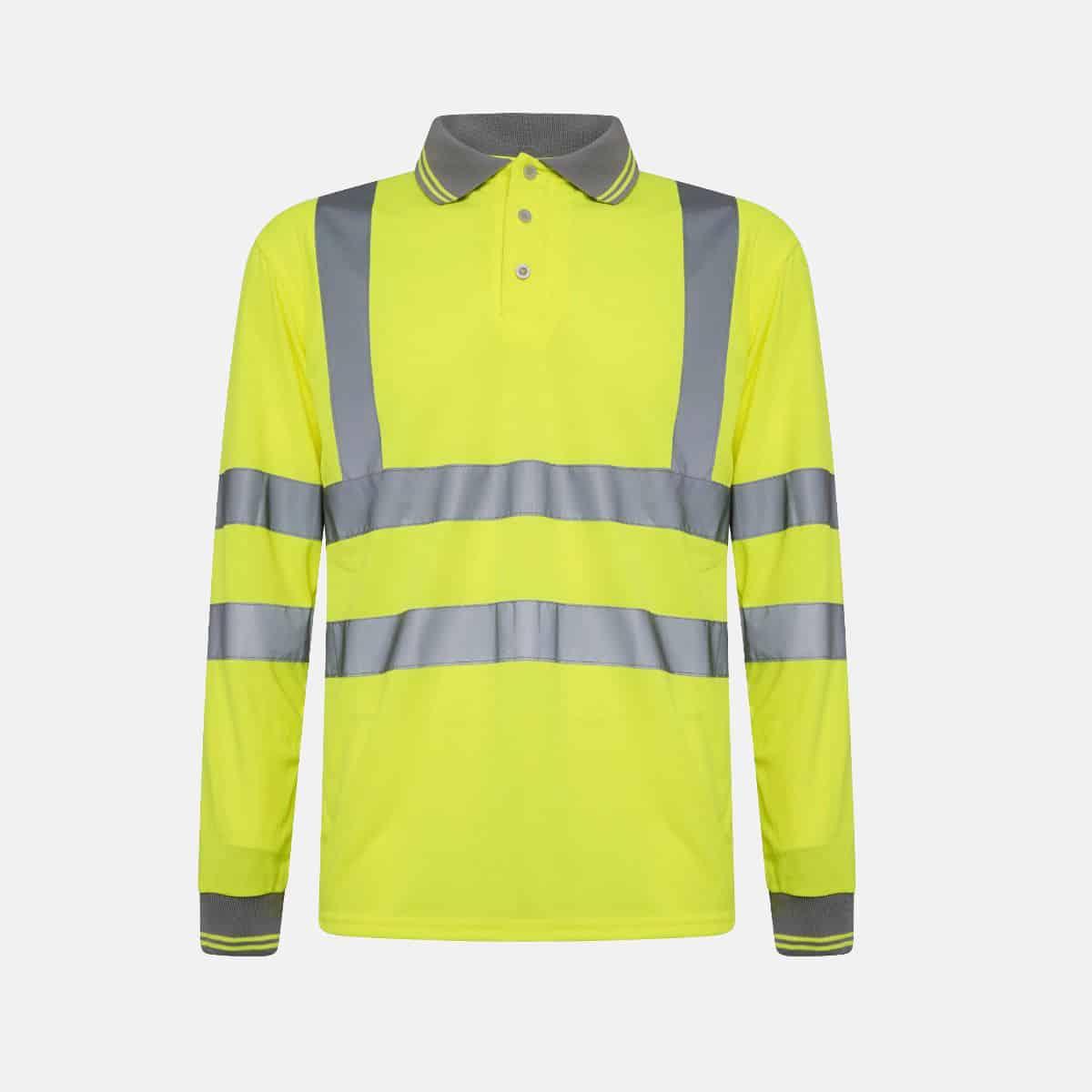 Hi Vis Breathable Long Sleeve Polo Shirt