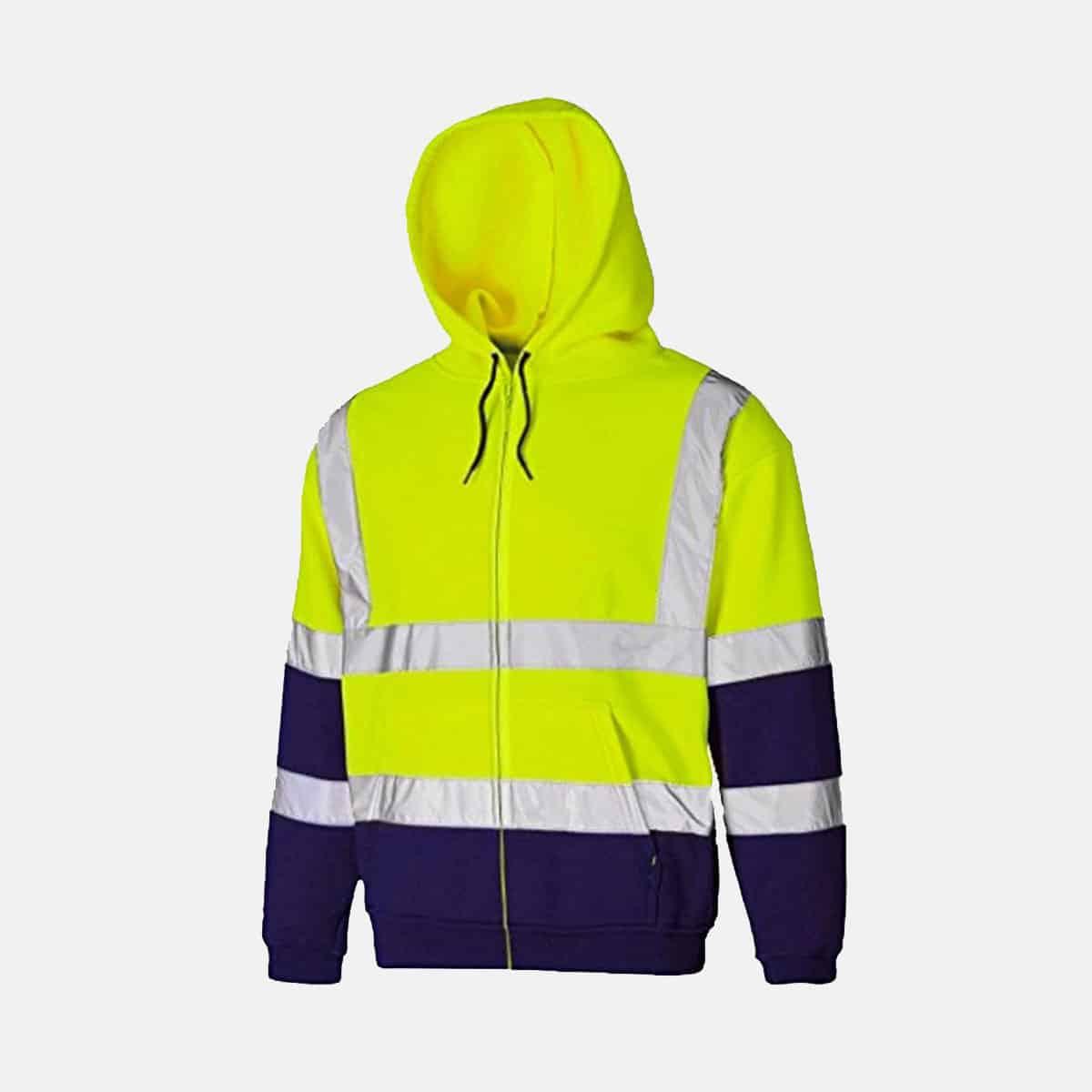 Hi Vis Fleece Full Zip Two Tone Yellow Navy Hoody