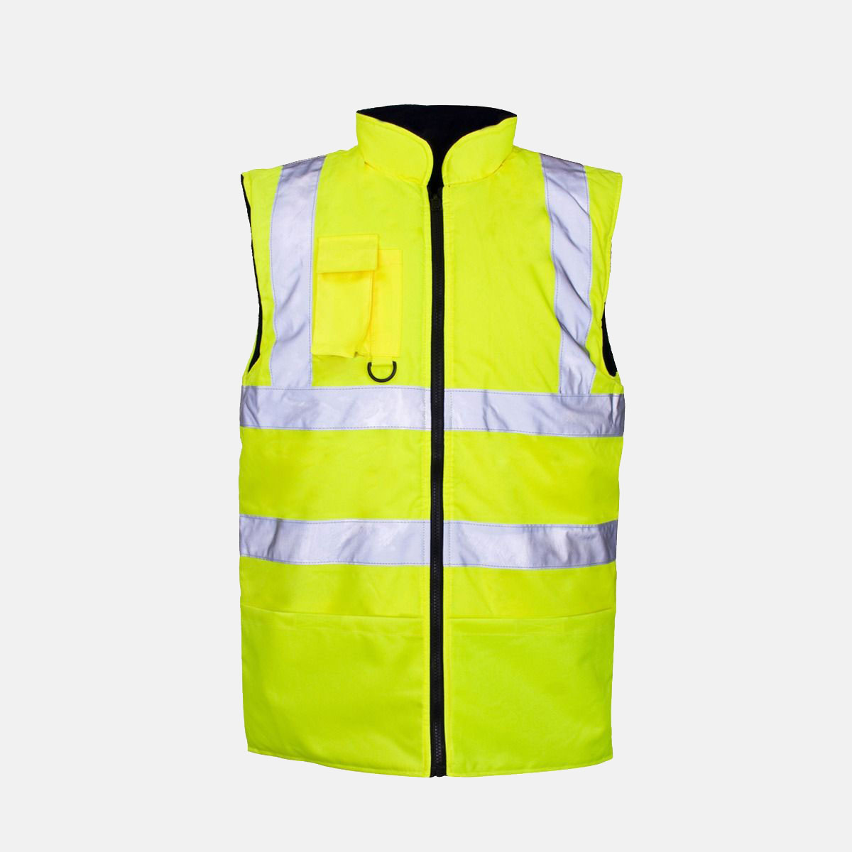 Hi Vis Fleece Reversible Body Warmer Waist Coat Plain Yellow