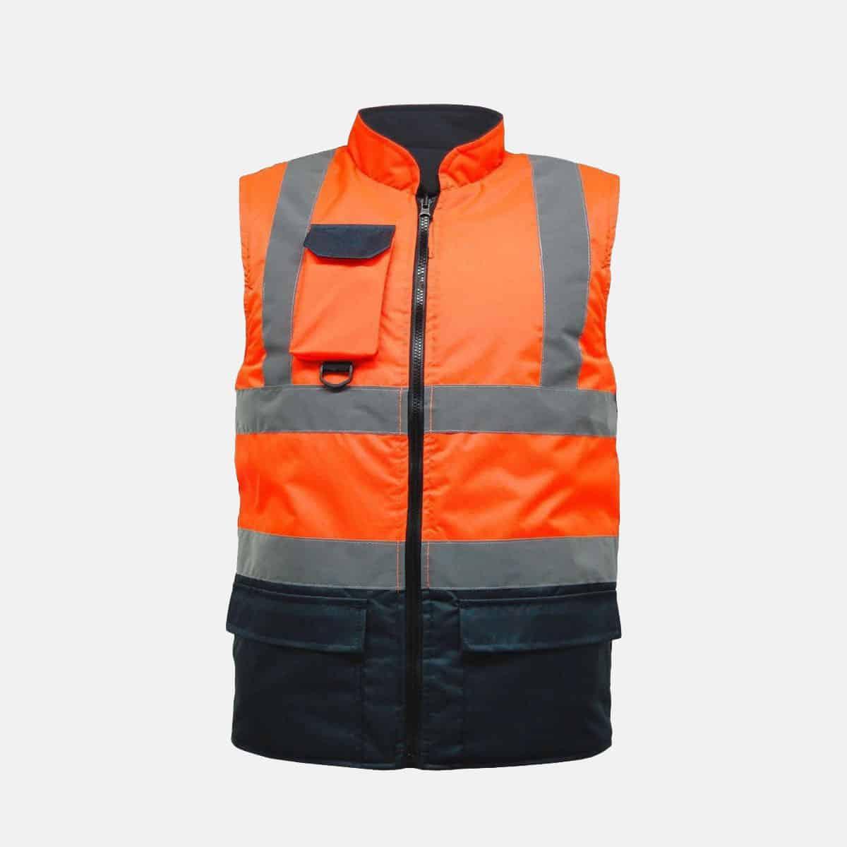Hi Vis Fleece Reversible Body Warmer Waist Coat Two Tone Orange