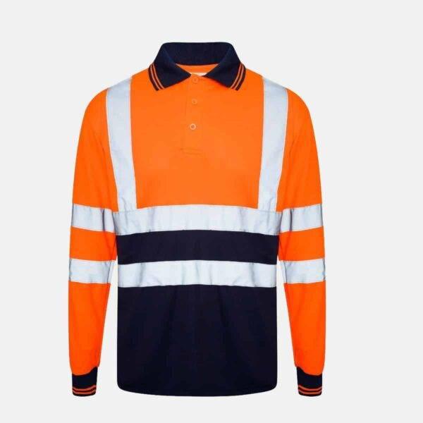 Hi Vis Long Sleeve Two Tone Polo Shirt