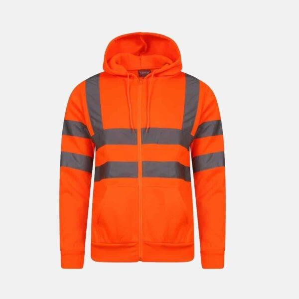 Hi Vis Fleece Full Zip Plain Hoody - Orange