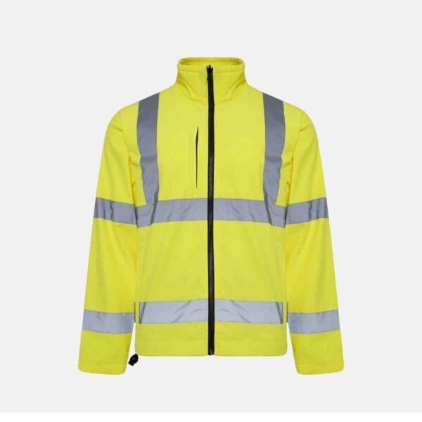 High Visibility Soft Shell Jacket Plain - Yellow