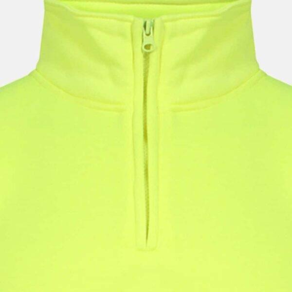 Hi Vis Quarter Zip Fleece Yellow Sweatshirt