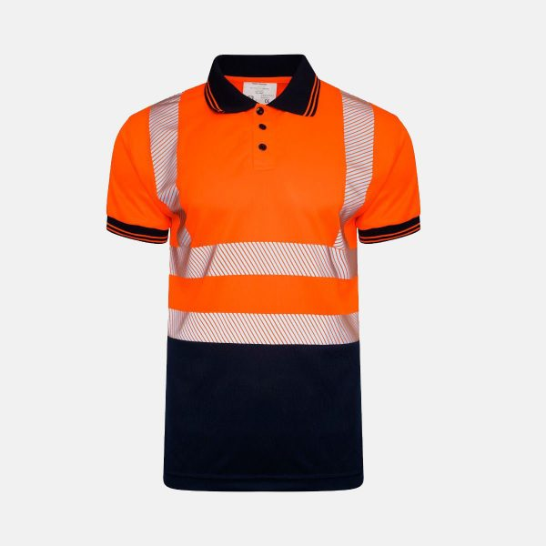 Hi Vis Short Sleeve Two Tone Polo Shirt Chevron Design Segmented Reflected Tape