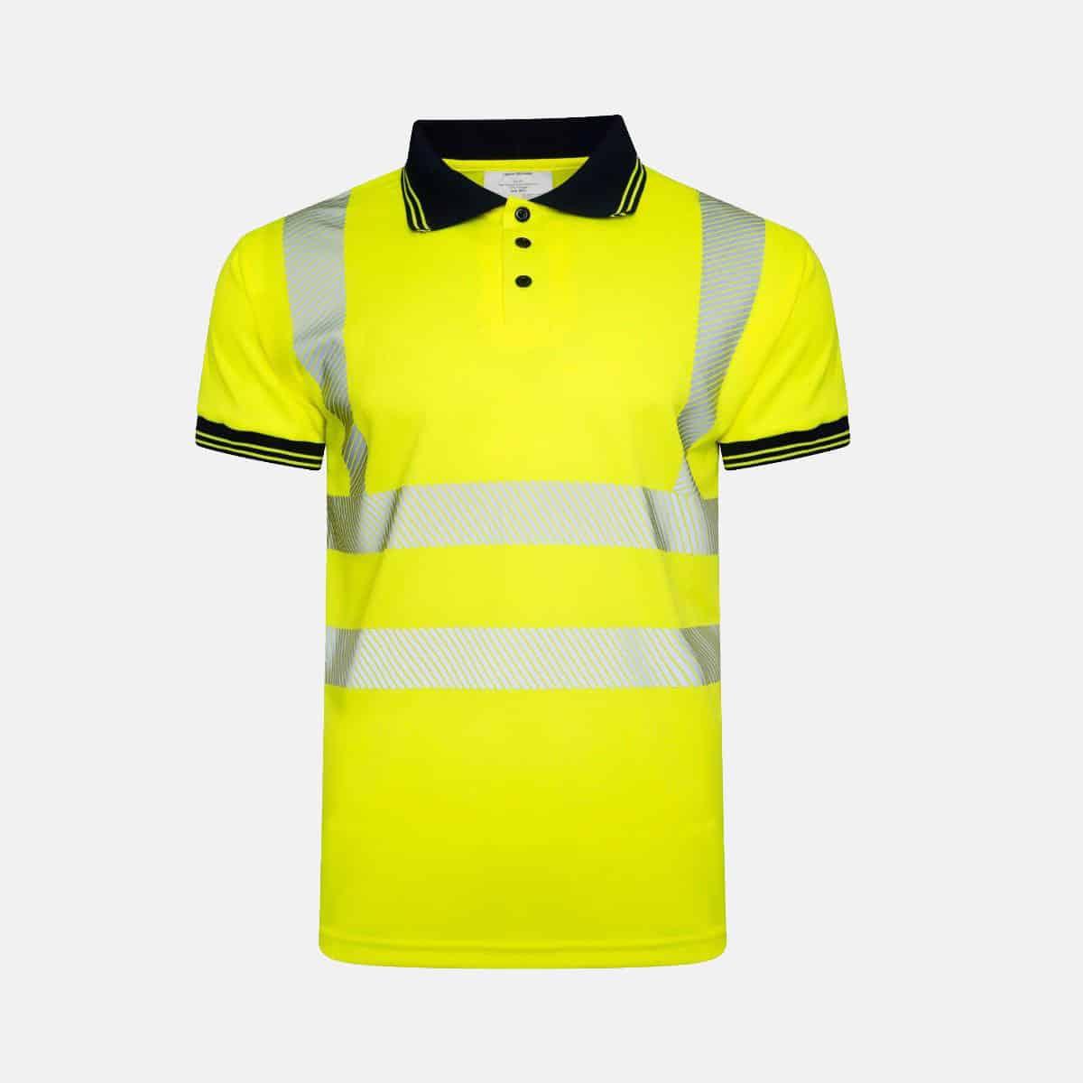 Hi Vis Viz Short Sleeve Polo Shirt Chevron Design Segmented Reflected Tape