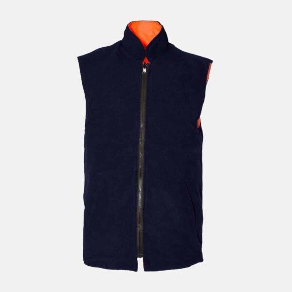 Hi Vis Fleece Reversible Body Warmer Waist Coat Plain Orange