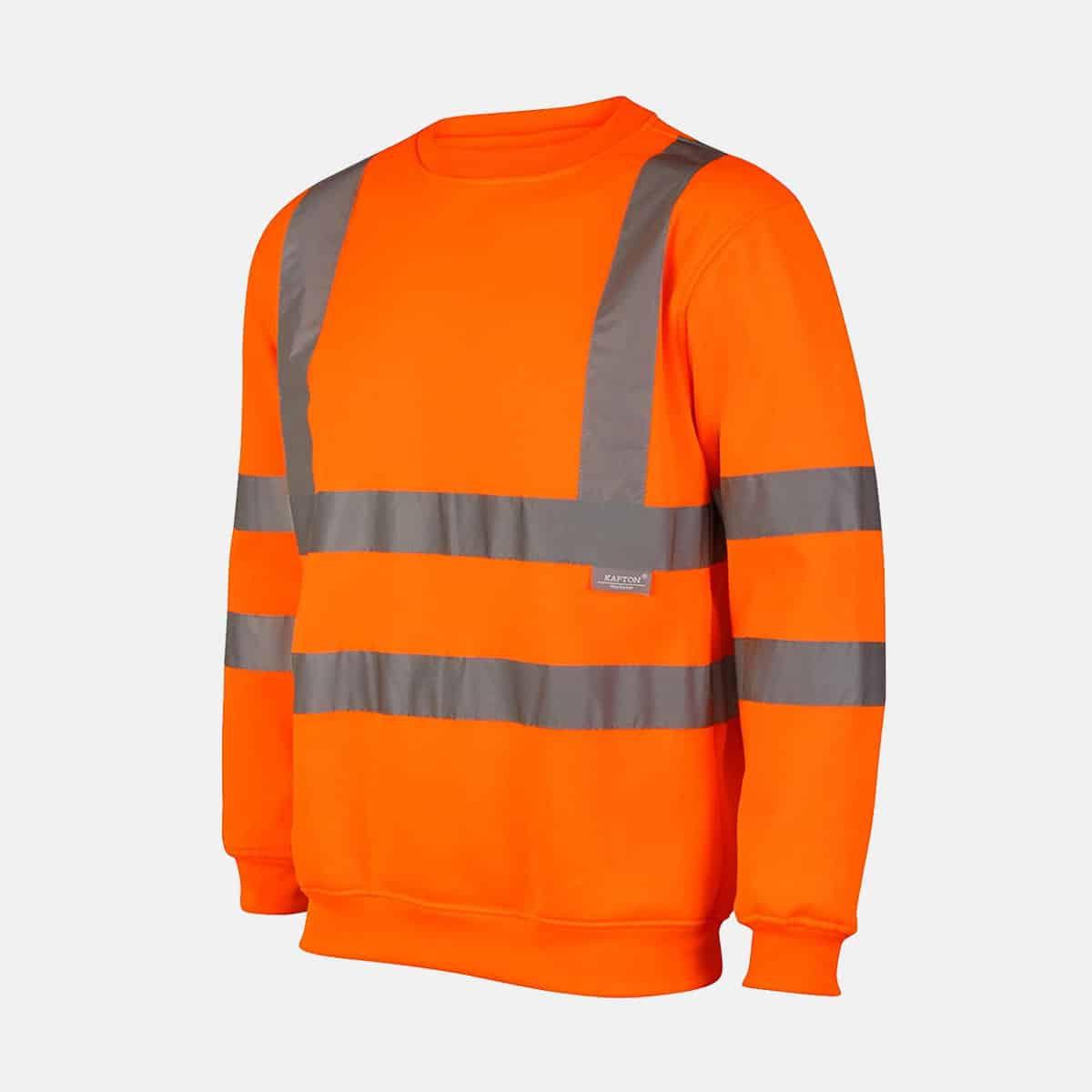 Hi Vis Crew Neck Fleece Pull Over Orange Sweatshirts