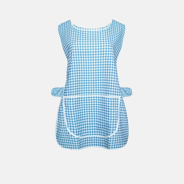 Ladies Check Design Overall Front Pocket Kitchen Cooking Cleaning Tabards