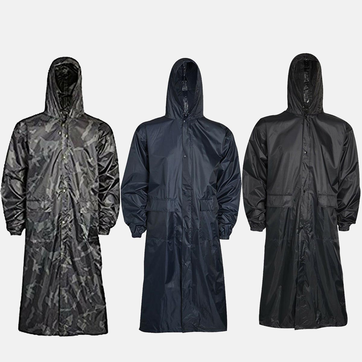 Adults Navy Blue Waterproof Long Coat by Baum Country