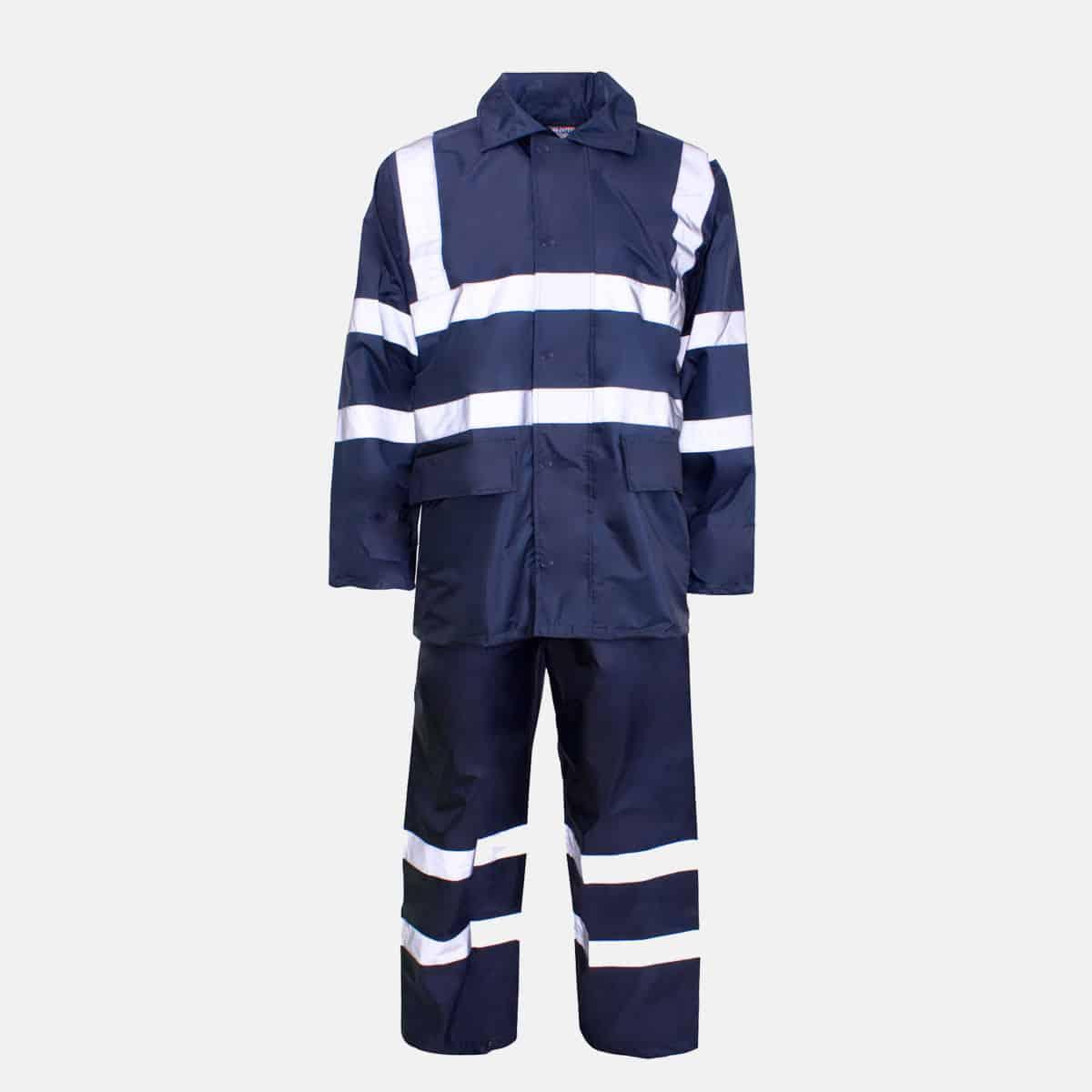 Polyester/PVC Hi Vis Navy Blue Rainsuit by Supertouch