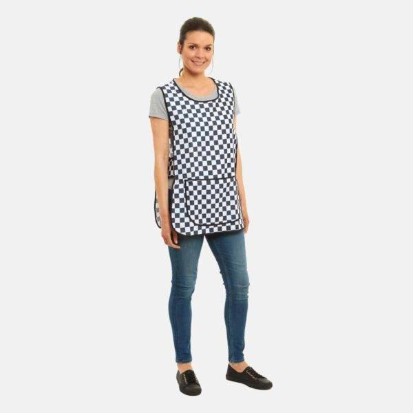 Ladies Tabard Striped Apron in Checkerboard Print