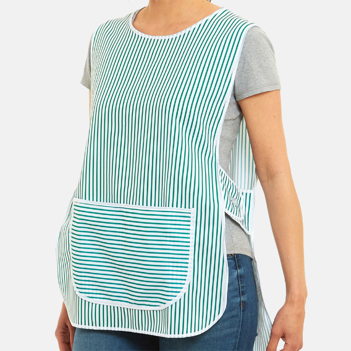 Ladies Tabards Striped Apron With Large Front Pocket