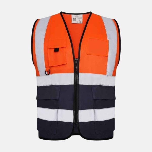 Hi Vis Executive Utility Two Tone Safety Vest / Waistcoat By Kapton In Orange Colour