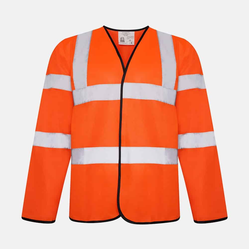 Hi Vis Long Sleeve Safety Vest / Waistcoat by Kapton In Orange Colour