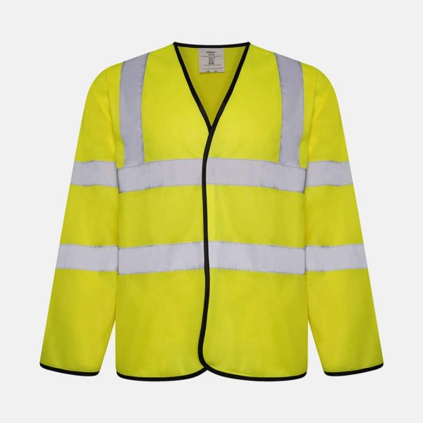 Hi Vis Long Sleeve Safety Vest / Waistcoat by Kapton In Yellow Colour