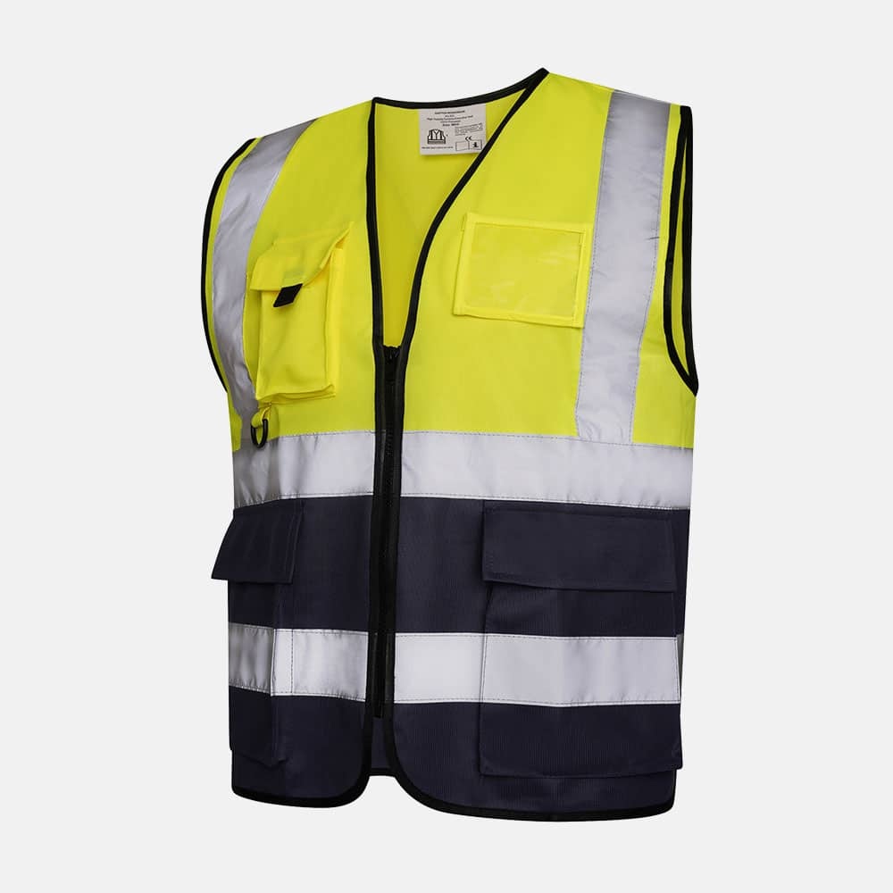 Hi Vis Executive Utility Two Tone Safety Vest / Waistcoat By Kapton In Yellow Colour