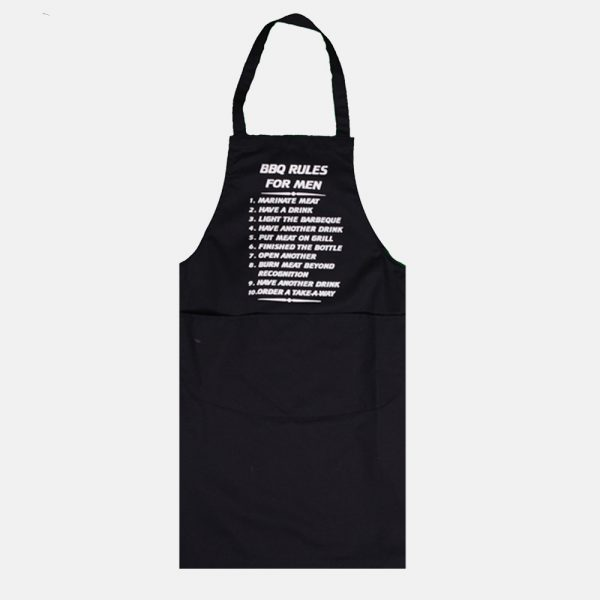 BBQ Rules Apron For Men & Women With Double Pocket In Black Colour