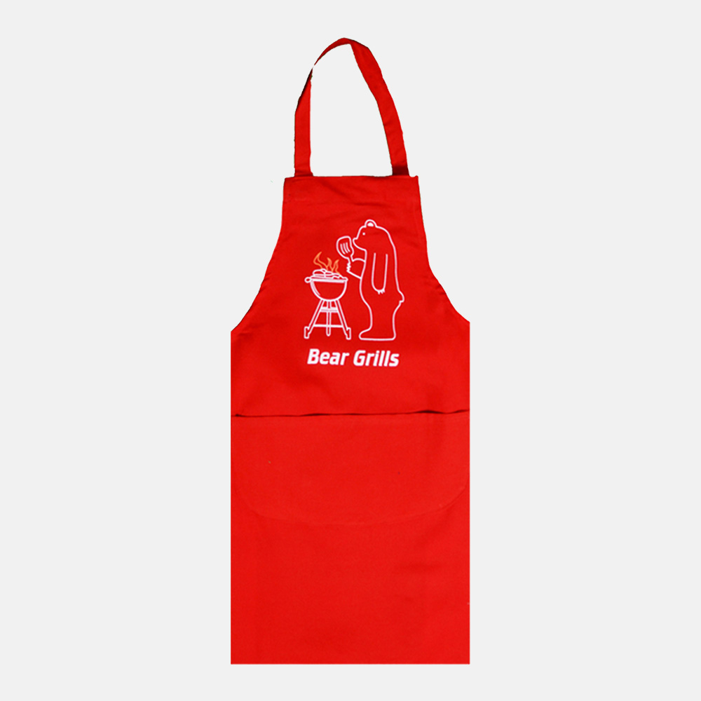 Bear to Grill Apron For Men & Women With Double Pocket In Red Colour