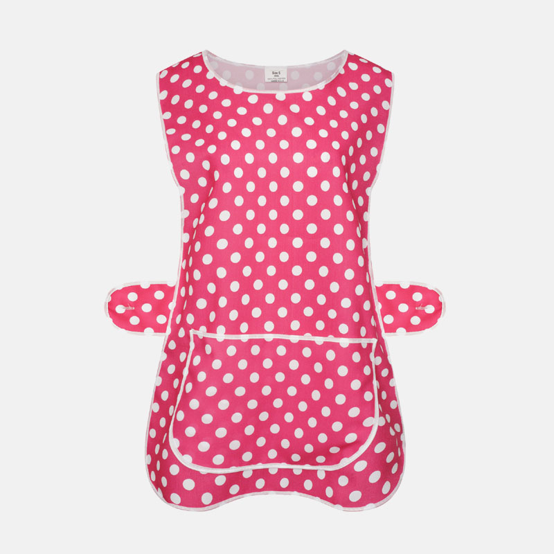 Ladies Polka dot Tabard Cooking & Cleaning Overall Apron With Front Big Pocket In Hot Pink
