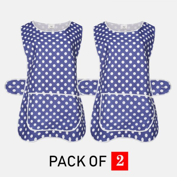 Ladies Polka dot Tabard Cooking & Cleaning Overall Apron With Front Big Pocket In Navy Blue