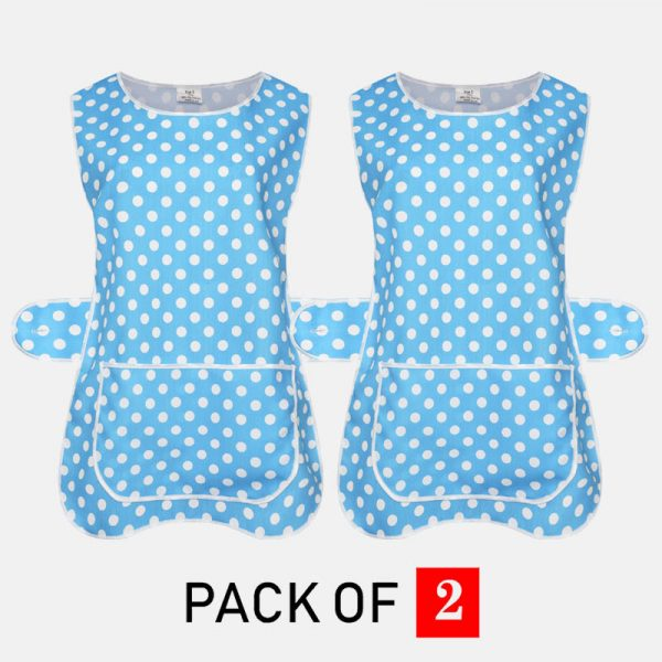 Ladies Polka dot Tabard Cooking & Cleaning Overall Apron With Front Big Pocket In Wine