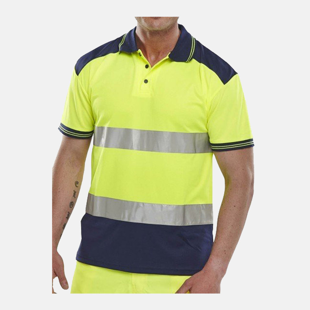 Hi Vis Short Sleeves Breathable B-Seen Polo Shirts In Yellow Colour