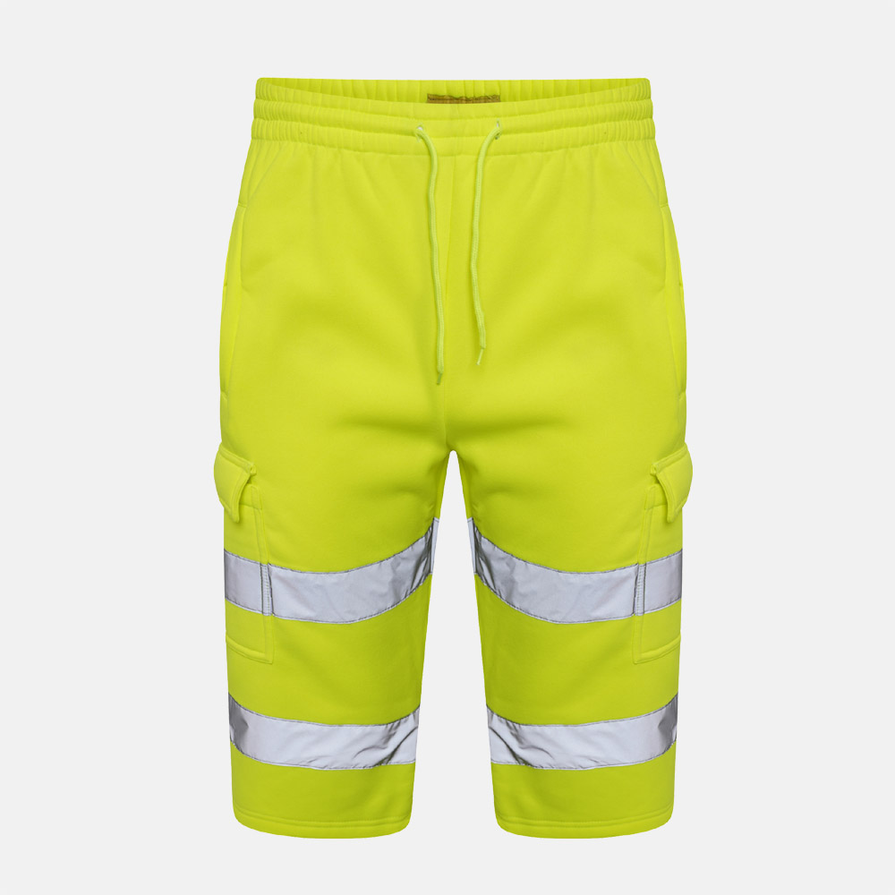 HI VIZ Fleece Shorts With HIGH Visibility Reflective Tape Security Work Sweat Bottoms In Yellow