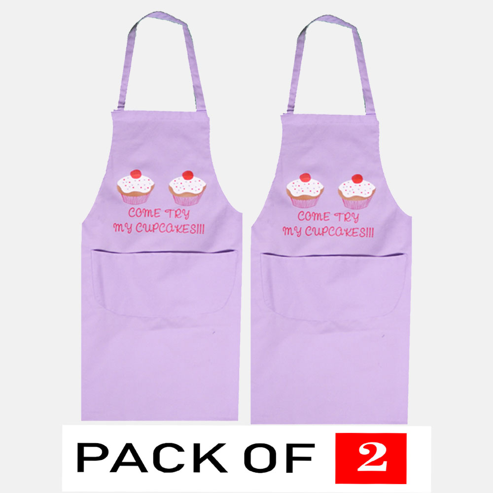 """Apron For Men & Women """"Come Try My Cup Cakes"""" In Lilac Colour"""