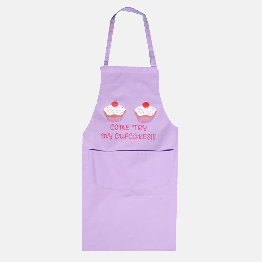 Come Try My Cupcakes Apron For Men & Women In Lilac Colour